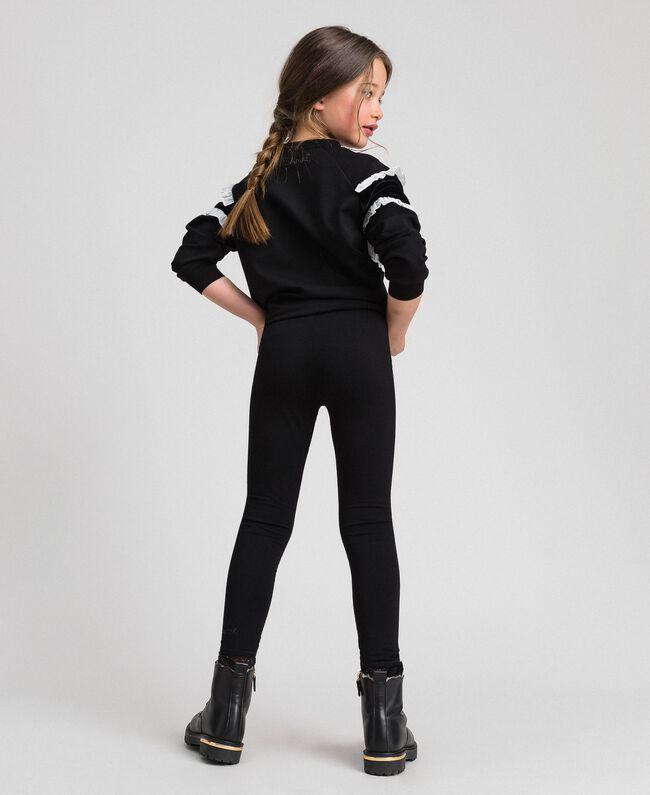 Legging en jersey avec dentelle Noir Enfant GCN2F4-03
