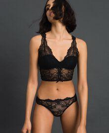 Culotte brésilienne en dentelle lamée Noir Femme 192LL6H77-01