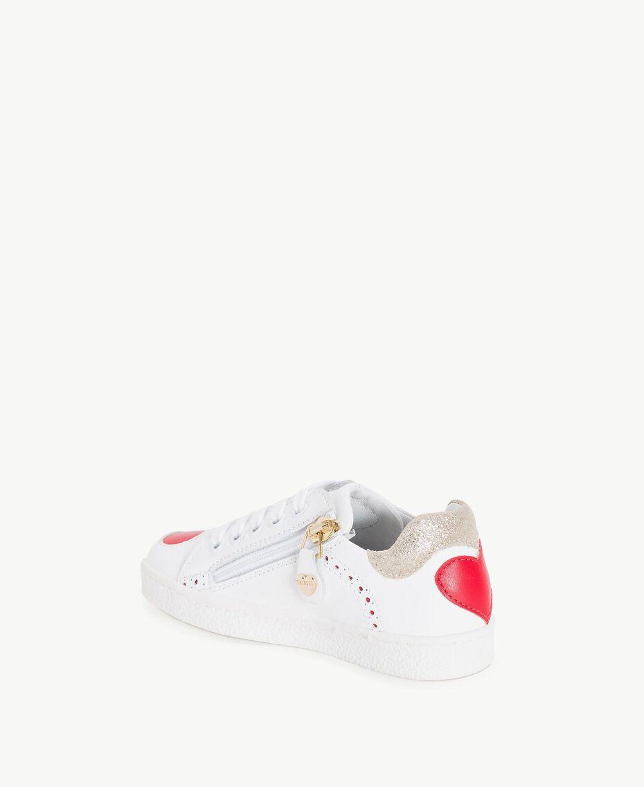 Sneakers mit Herzen Zweifarbig Papyrusweiß / Granatapfelrot Kind HS86BN-03