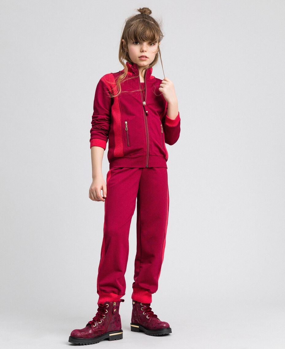 "Colour block sweatshirt with zip and jogging trousers Ruby Wine / ""Candy"" Fuchsia Child 192GJ2240-01"