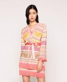 Maxi cardigan à franges Jacquard Multicolore Rose Femme 201TT3161-01