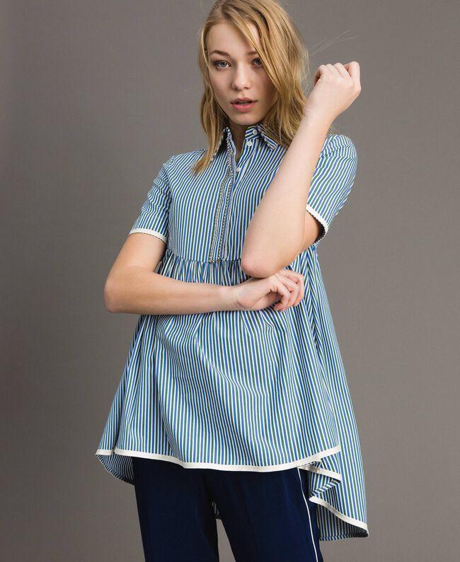 "Rhinestone striped blouse ""Evergreen"" Green / Cornflower Blue Striping Woman 191TP2310-01"