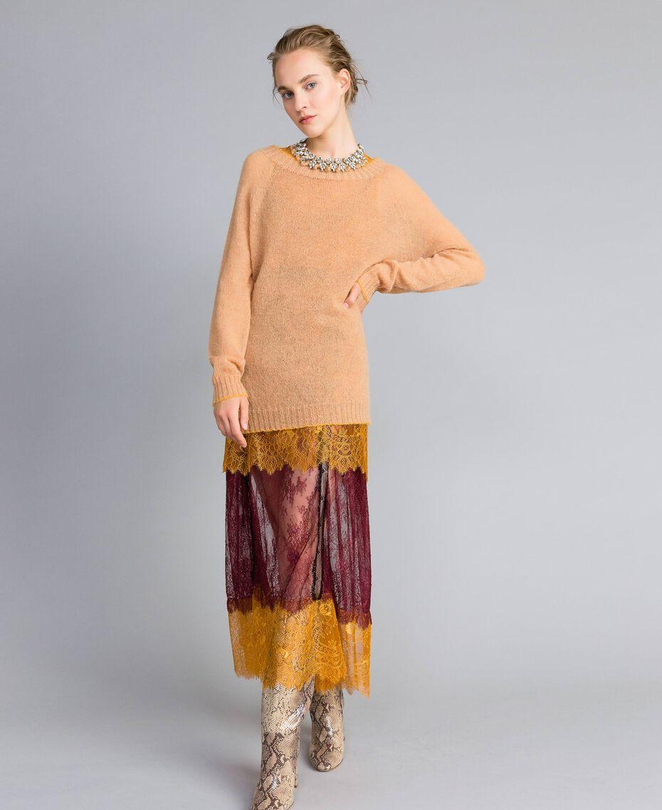 Maxi pull en mohair avec top en dentelle Bicolore Camel / Brandy Femme PA836B-0T