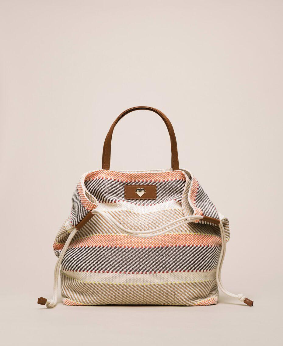 """Weaved fabric shopper Multicolour """"Milkyway"""" Beige Woman 201LM7ZJJ-01"""