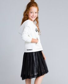 Gonna in tulle con perle Bicolor Nero / Off White Bambina GA82JE-02