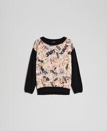 Floral and graffiti print jumper with rhinestones Flow Print / Vanilla Graffiti Woman 192MP3020-0S