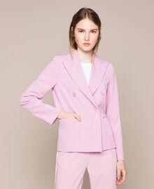 "Double breasted pin stripe blazer ""Candy"" Pink Pin Stripe Jacquard Woman 201ST2080-03"