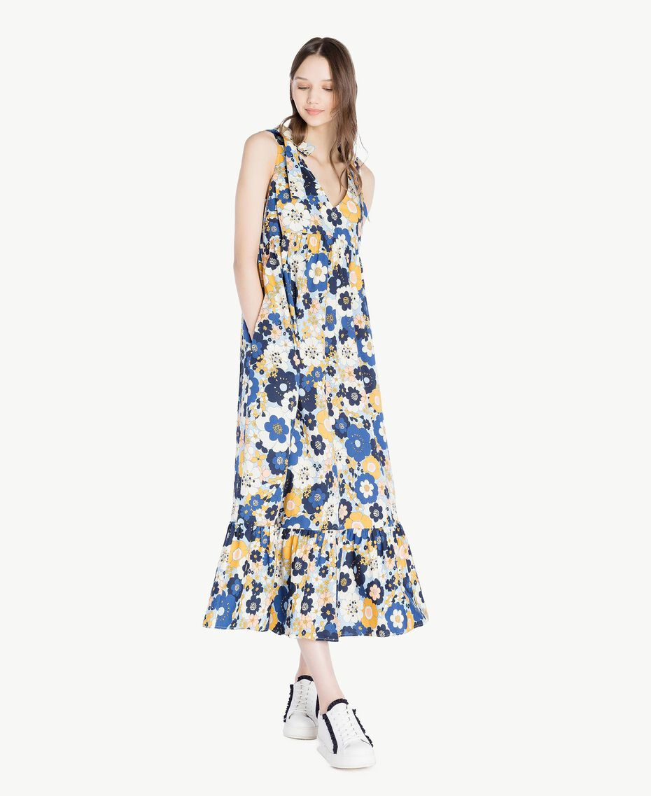 Langes Kleid mit Print Flacher Blumenprint Placid Blue Frau SS82PE-01