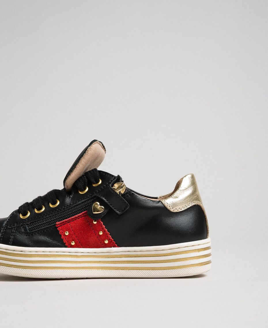 Leather trainers with hearts and studs Black Child 192GCJ012-03