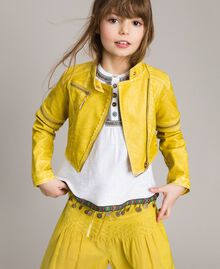 "Faux leather jacket with zip ""Bamboo"" Yellow Child 191GJ2103-0S"