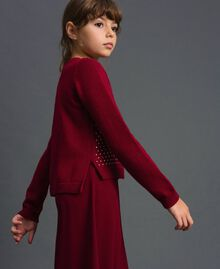 Cardigan with all over studs Ruby Wine Red Child 192GJ3093-02