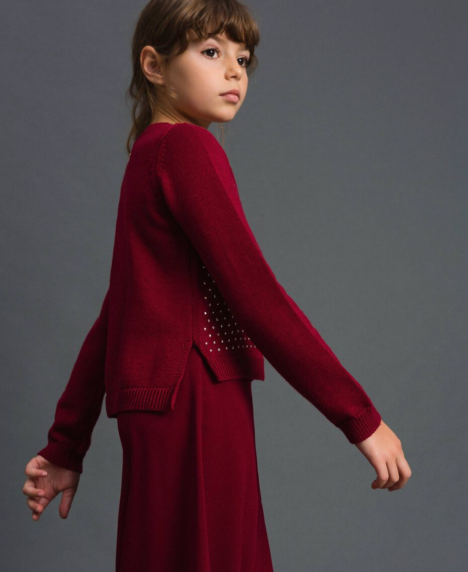 Cardigan mit Allovernieten Ruby Wine Rot Kind 192GJ3093-02
