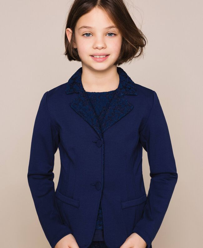 Macramé lace blazer Night Blue Child 201GJ2QL1-01