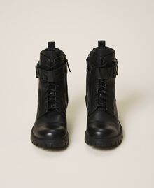 Combat boots with lettering logo Black Woman 202TCP03G-05