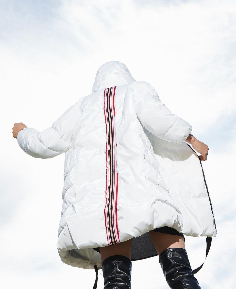 Long puffer jacket with drawstring Ivory Woman 202LI2AAA-01