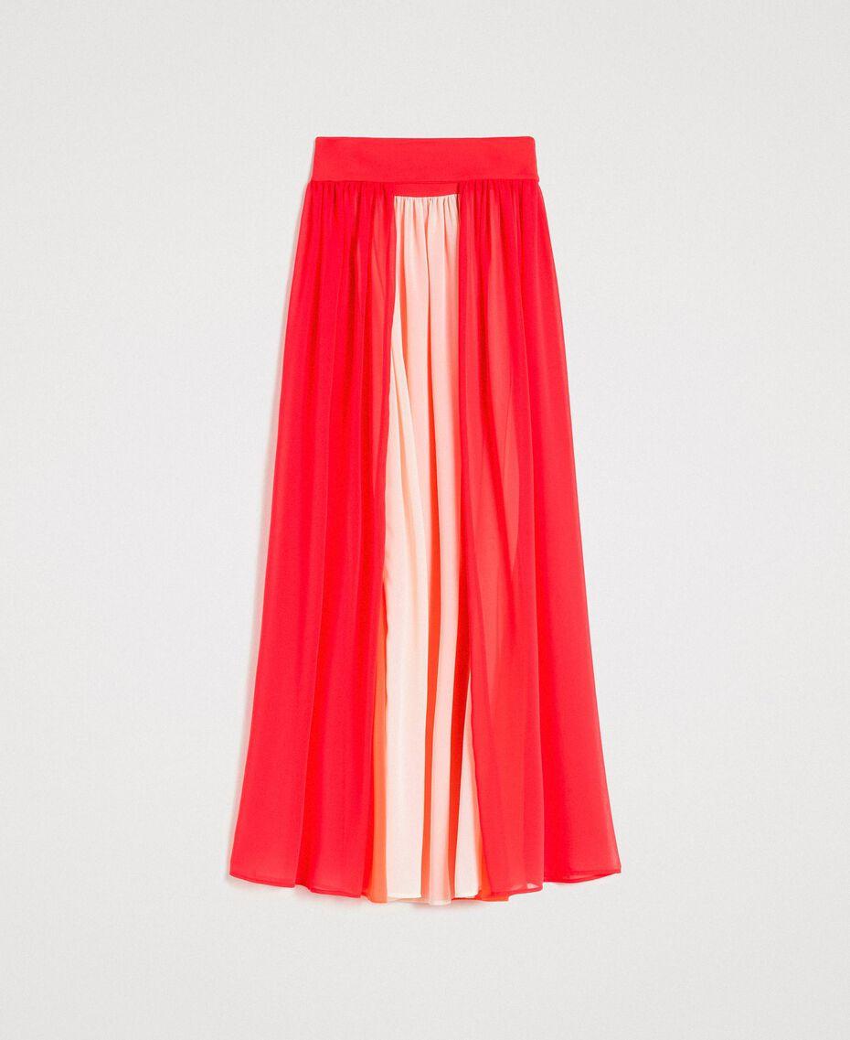 """Jupe longue avec panneaux multicolores Multicolore Rouge """"Framboise"""" / Beige """"Voie lactée"""" / """"Jus d'Orange"""" Femme 191LM2TCC-0S"""