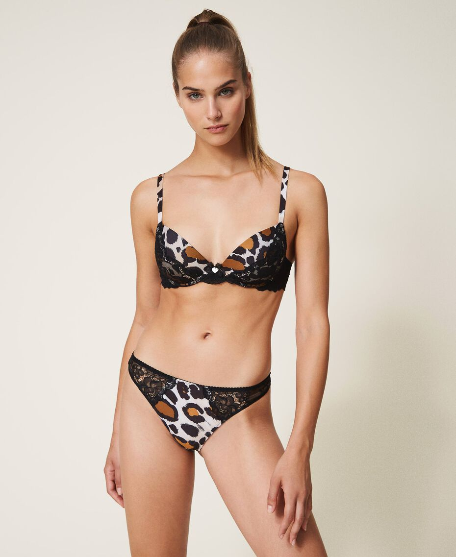 Printed push-up bra with lace Animal Print Woman 202LL6E44-02