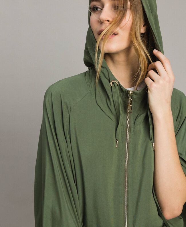 "Hooded cape ""Cactus"" Green Woman 191MT2311-04"