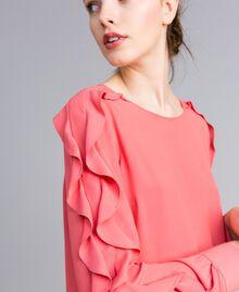 Kurzes Kleid aus Seidenmischung mit Volant Royal Pink Rosa Frau PA828A-04