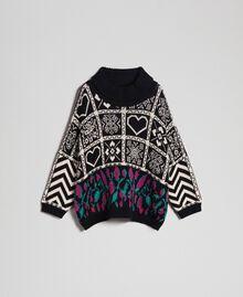 Pull jacquard en laine mélangée Jacquard Blanc «Neige»/ Noir Femme 192TT3160-0S