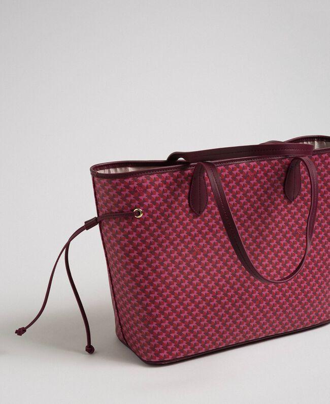 Sac cabas imprimé avec pochette Imprimé Fleurs Papillon Rouge Betterave Femme 192TA7017-04