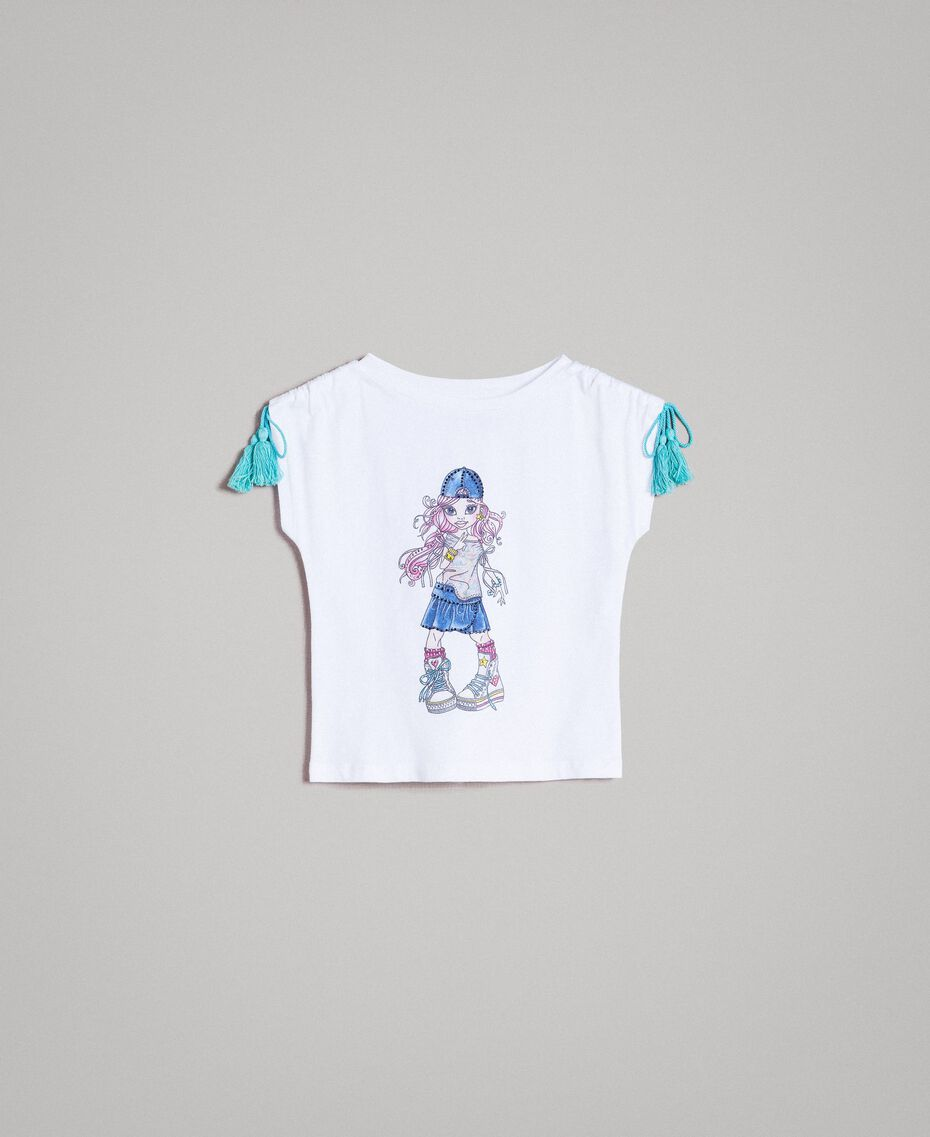 Jersey T-shirt with print and rhinestones White Child 191GB2512-01