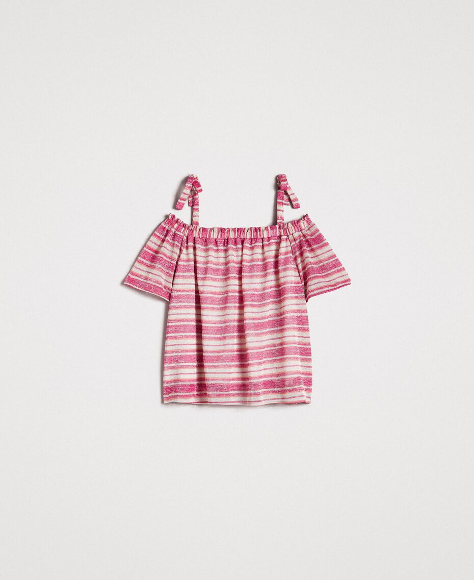 "Lurex striped blouse with bows Pink / ""Tangerine Cream"" Pink Multicolour Striping Woman 191LB2AKK-0S"