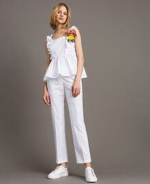 Poplin drainpipe trousers White Woman 191TT2231-02