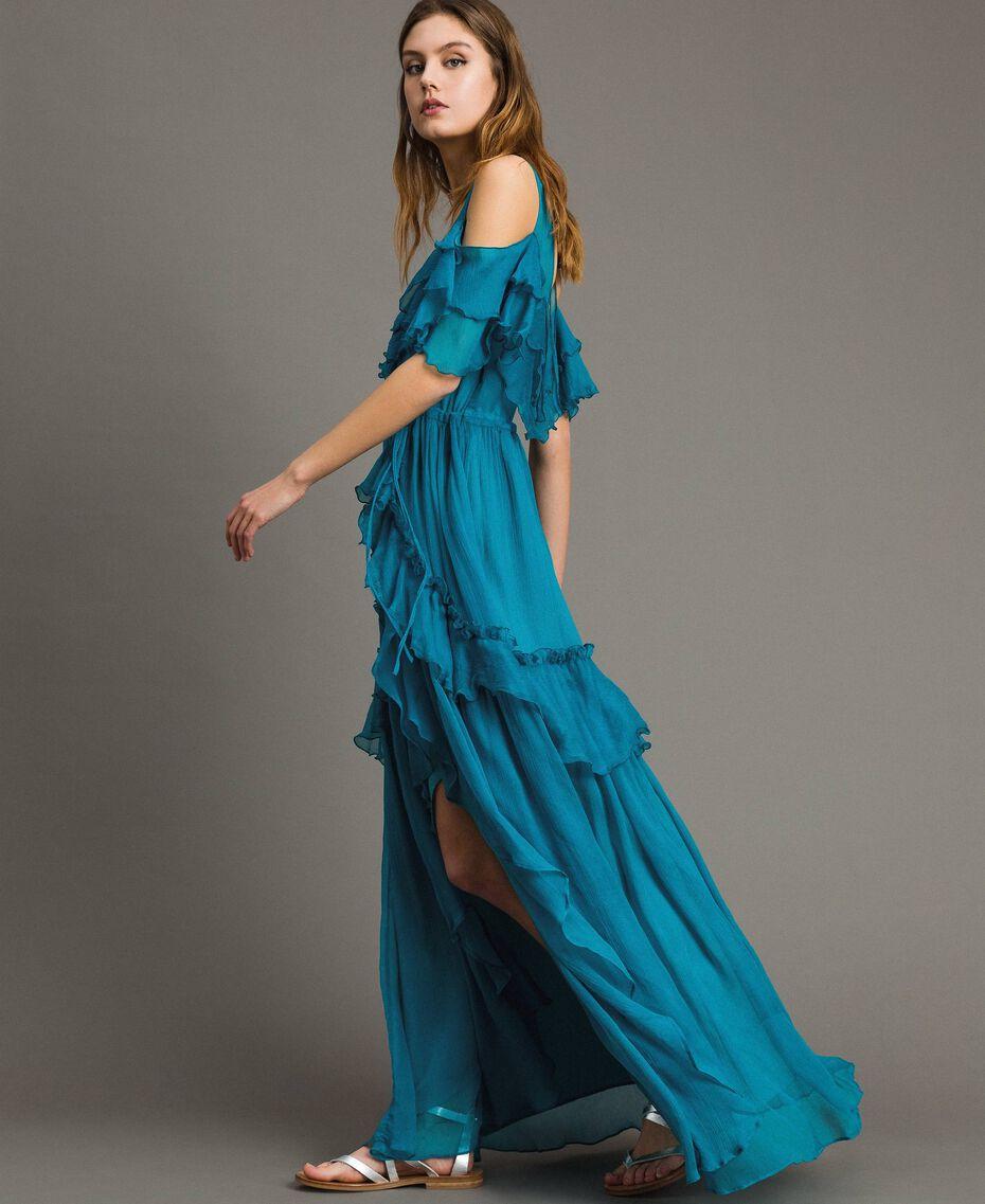 Silk crepon long dress with flounces Tile Blue Woman 191TT2423-02