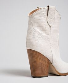 "Leather ankle boots with crocodile print ""Snow"" White Crocodile Print Woman 192TCT024-04"