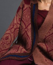 """Jacquard mohair and wool maxi cardigan """"Sequoia"""" Beige Jacquard / Red Earth Woman 192ST3130-06"""