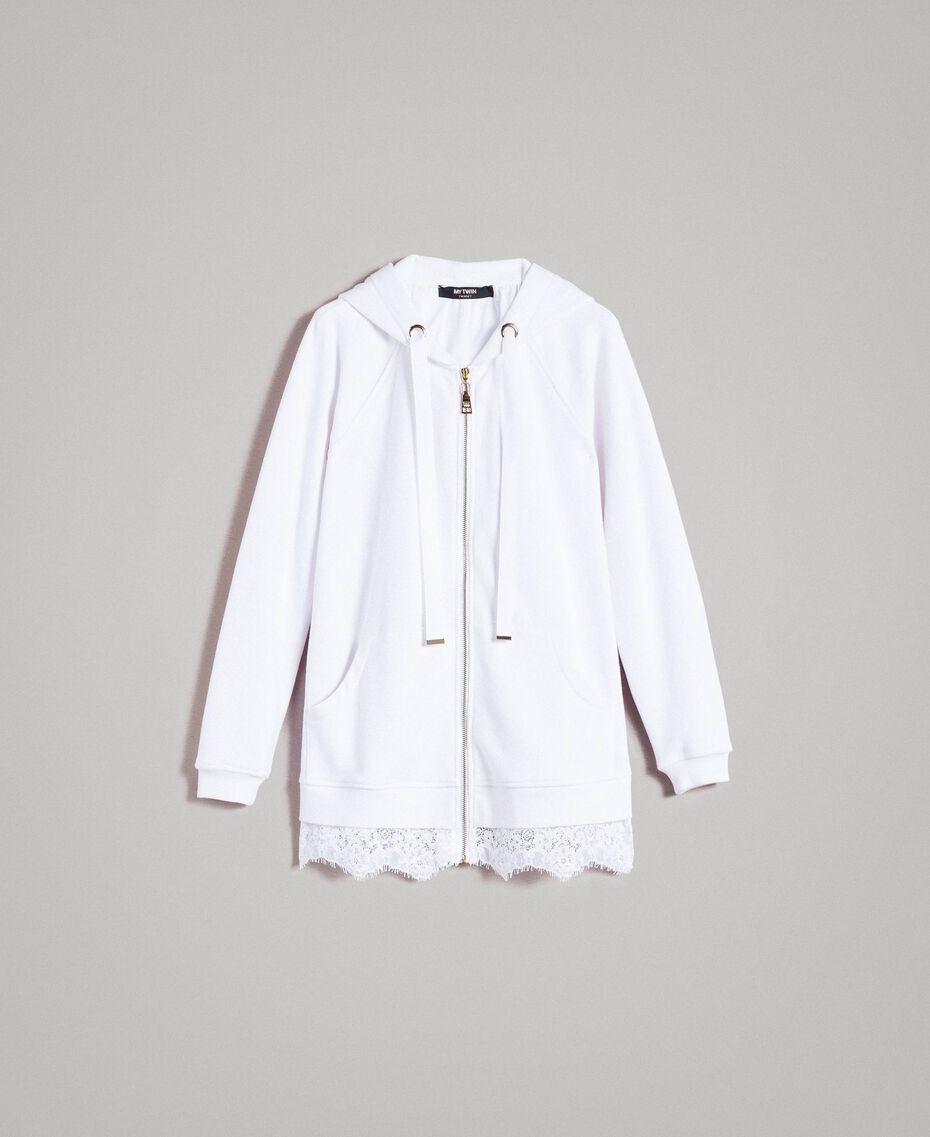 Sweat-shirt avec capuche et dentelle Crème White Femme 191MP2323-0S