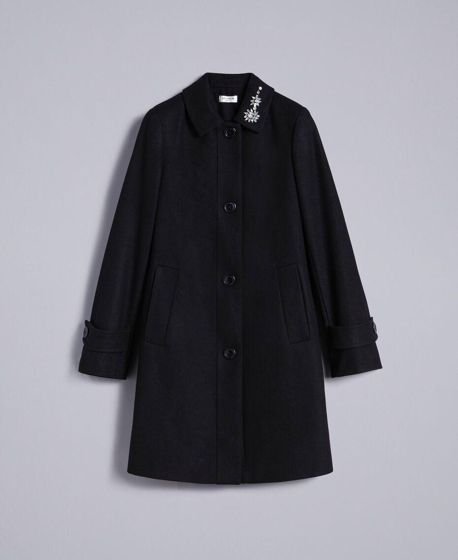 Manteau en drap avec broderie Noir Femme SA82RD-0S