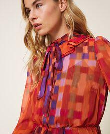Printed lurex creponne dress Lurex Gerbera Multicolour Print Woman 202MT2410-04