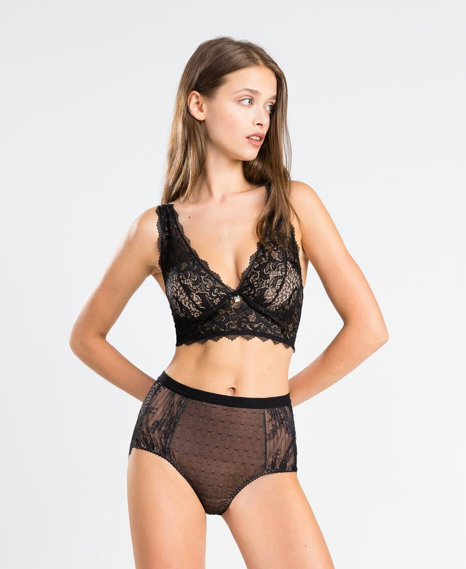 Tulle plumetis and lace high-waist briefs Black Woman LA8A99-0S