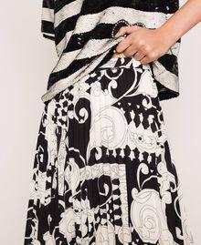 Jupe-culotte en crêpe georgette imprimé Imprimé Liberty Blanc / Noir Femme 201ST213H-05