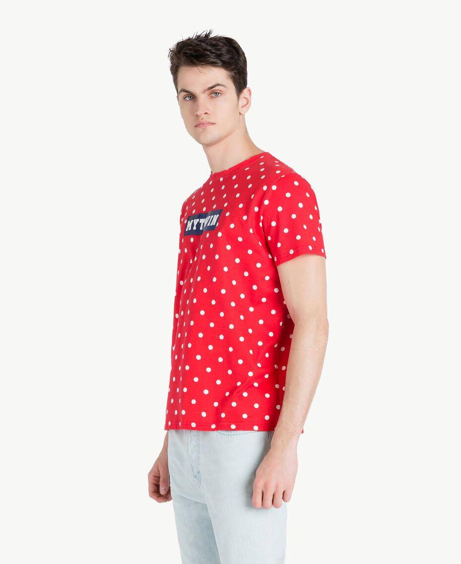 T-Shirt mit Tupfen Geranienrot Mann US8253-02