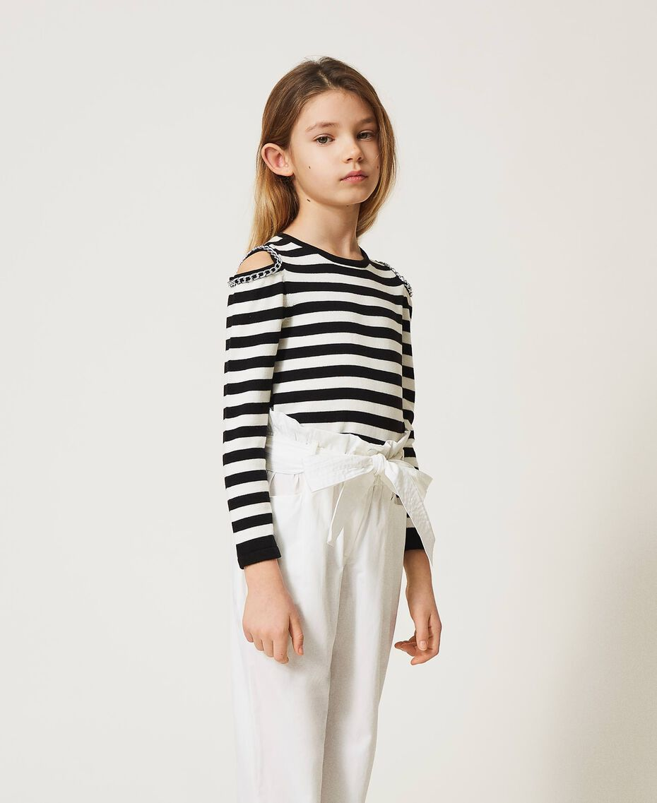 Striped jumper with cut-out and chains Off White / Black Stripes Child 211GJ350A-02