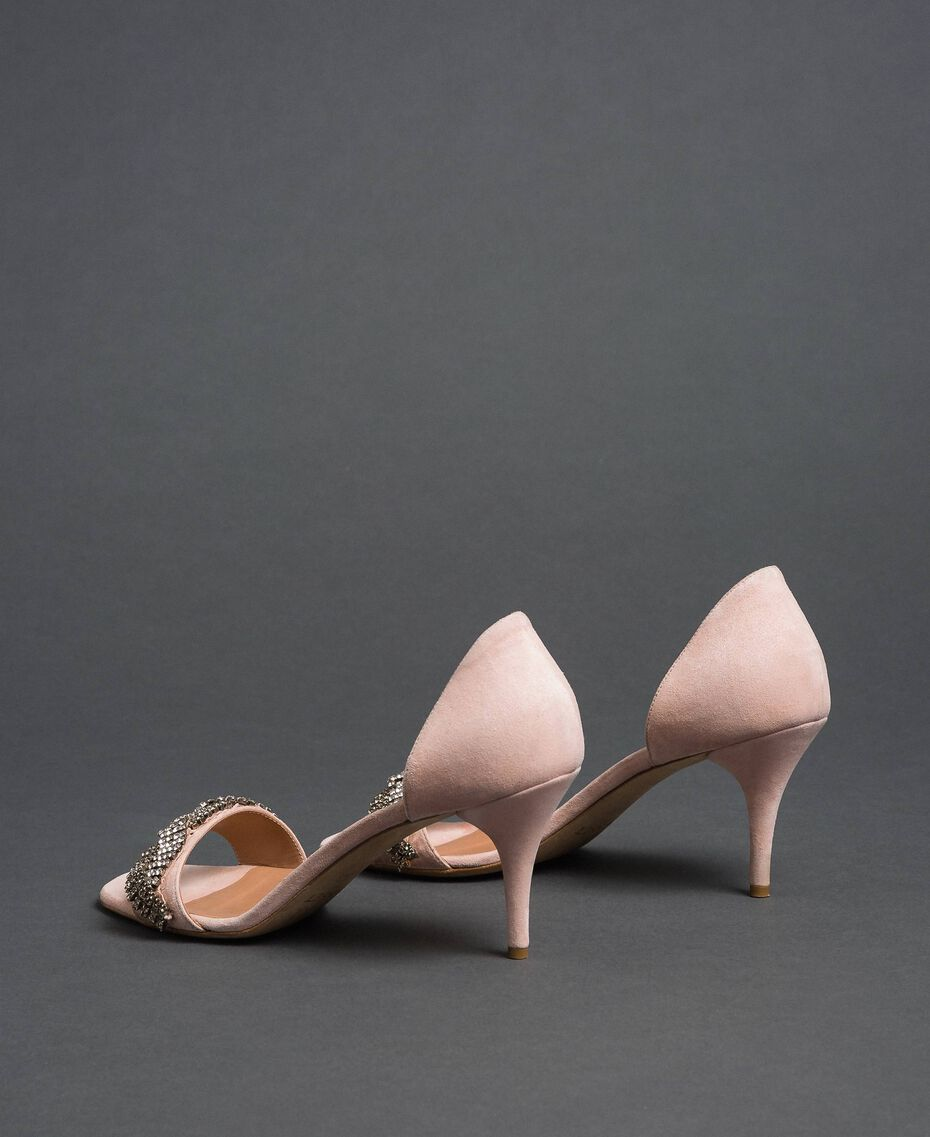 "Suede sandals with rhinestones ""Nude"" Beige Woman 192TCP12C-03"