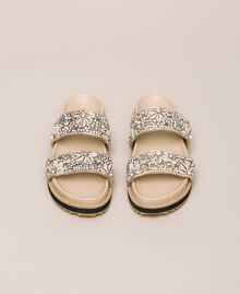 Leather sliders with embroidery Nougat Beige Woman 201TCT022-05