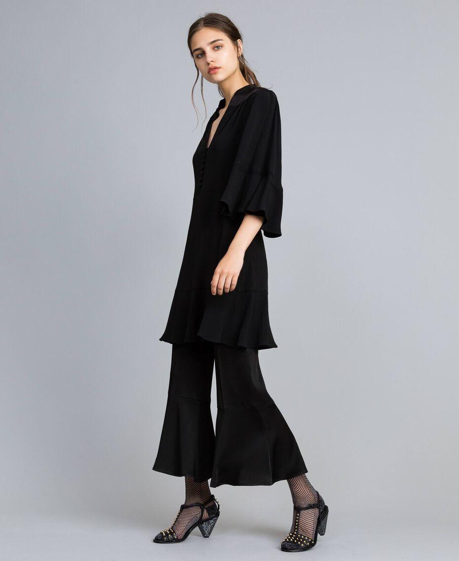 Robe en envers satin Noir Femme TA824C-0T
