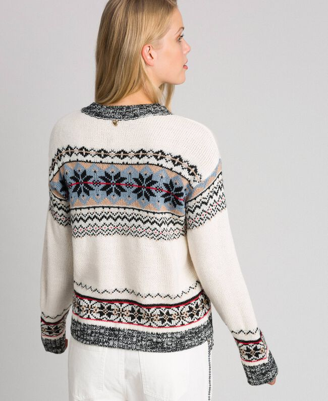 Alpaca jacquard blend jumper Vanilla White Woman 192MT3080-04