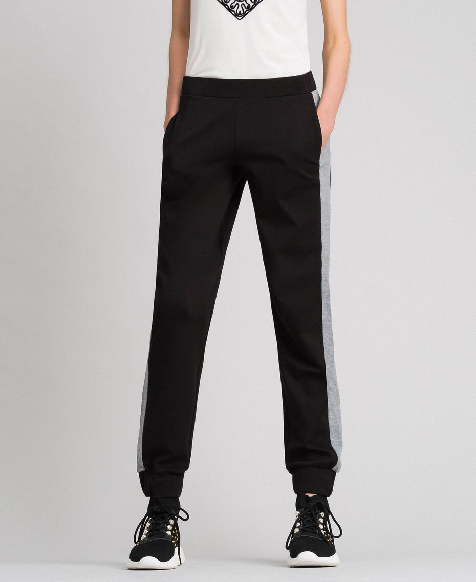 Jogging trousers with contrasting bands Black/ Melange Gray Woman 192LI2HDD-02
