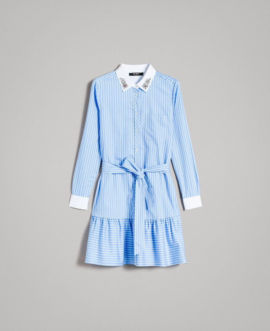 Poplin shirt dress with embroidery Cornflower Blue Woman 191MP2043-0S