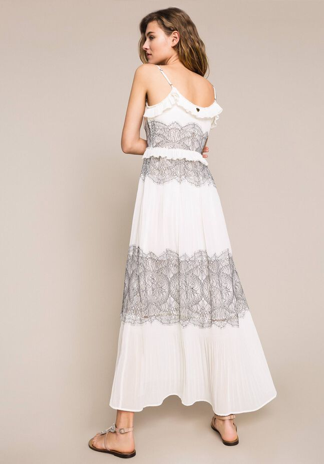 Длинное плиссированное платье с двухцветным кружевом