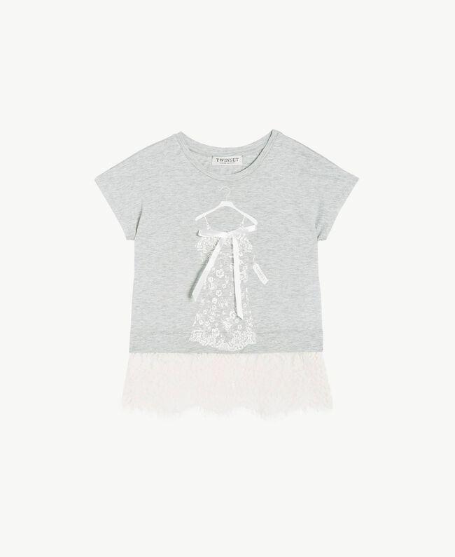 Lace T-shirt Two-tone Mid Melange Grey / Chantilly Child GS82XG-01