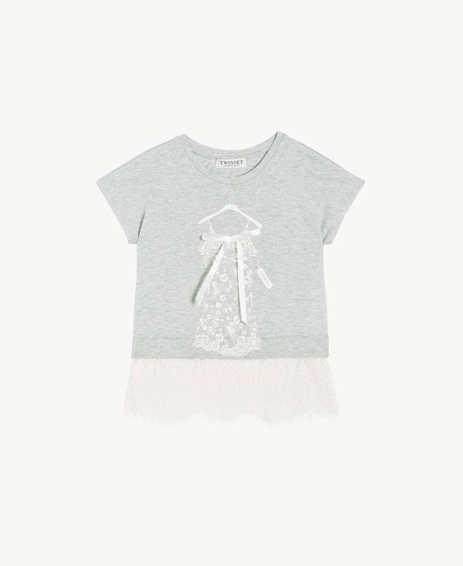 T-shirt dentelle Bicolore Gris Moyen Mélangé / Chantilly Enfant GS82XG-01