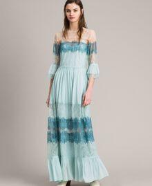 """Robe longue en georgette et dentelle Bicolore Bleu Clair Mikonos / Bleu Clair """"Aigue Marine"""" Femme 191TP2771-04"""