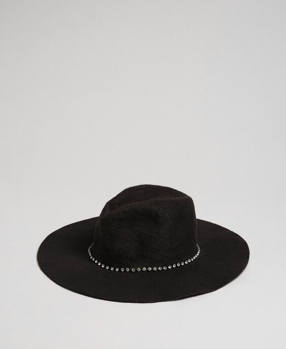 Wide brim hat with rhinestones