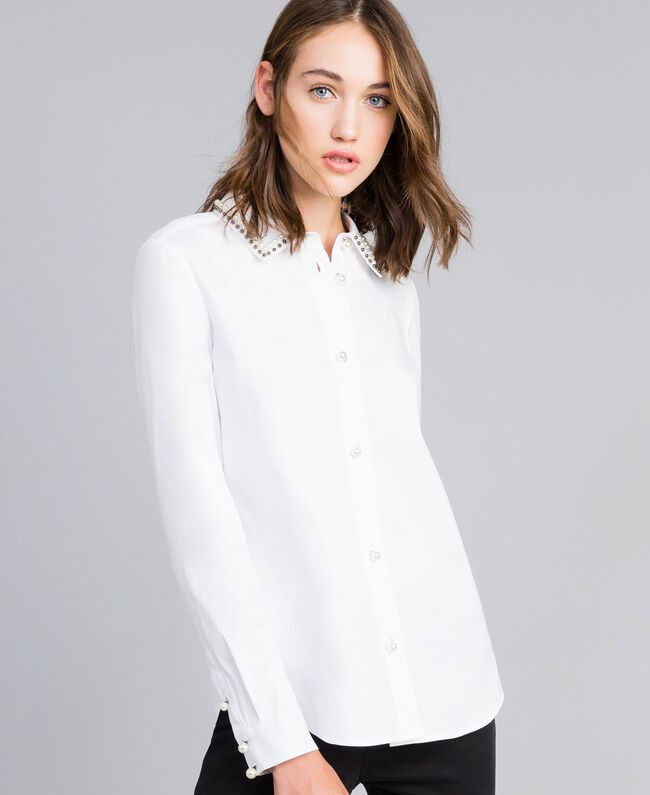 "Stretch poplin shirt ""Ice"" White Woman JA82JB-01"